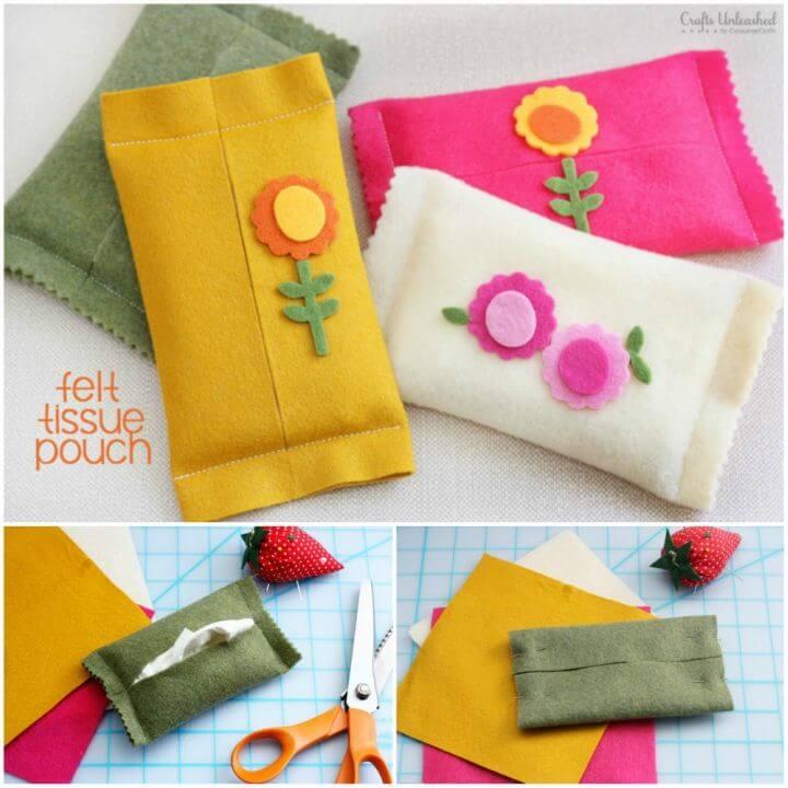 Pretty DIY Felt Pouch Tissue Holder