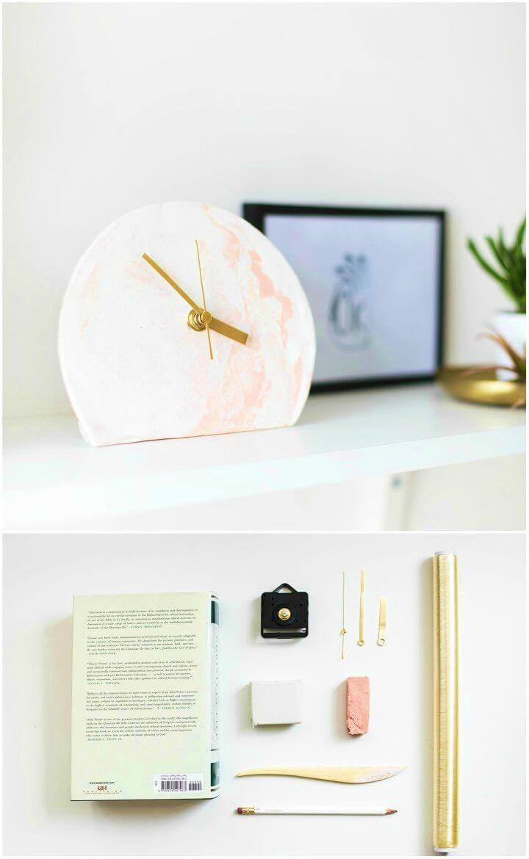 Pretty DIY Marble Clay Standing Clock