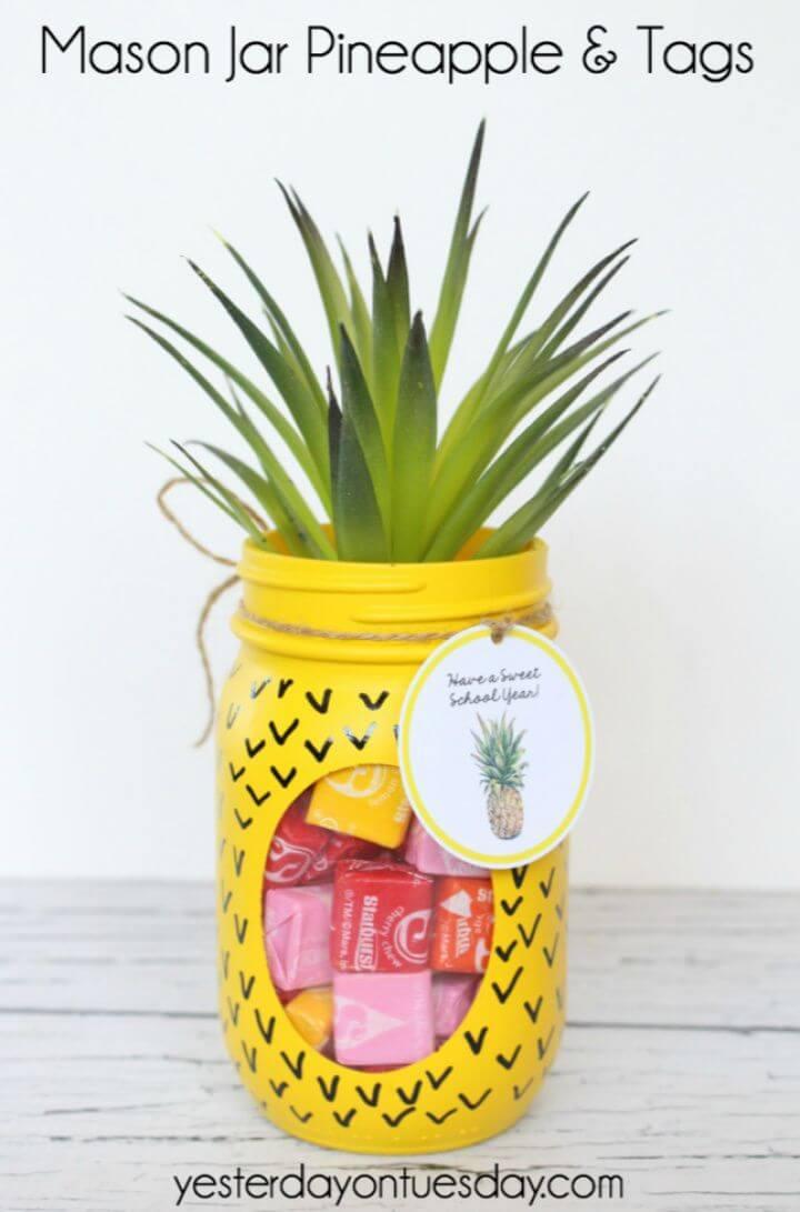 Pretty DIY Mason Jar Pineapple Gifts