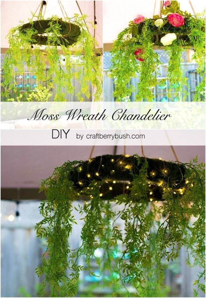 Pretty DIY Moss Chandelier Wreath