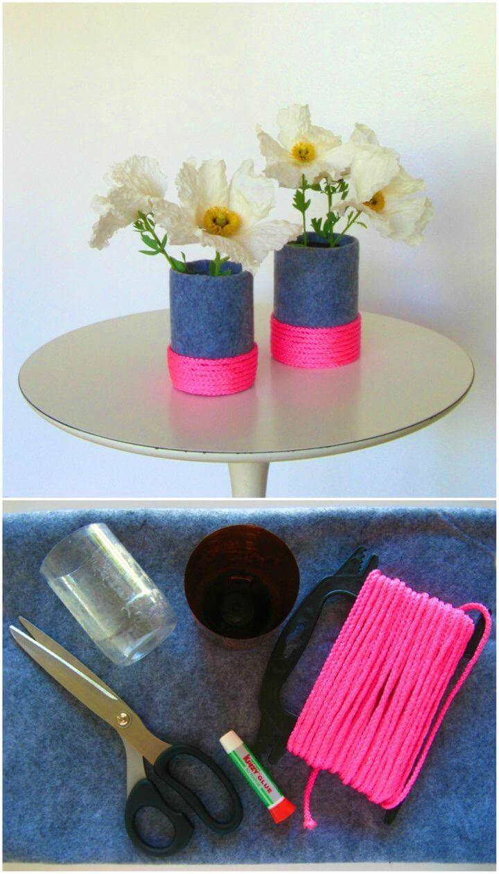 Pretty DIY Neon and Felt Vase