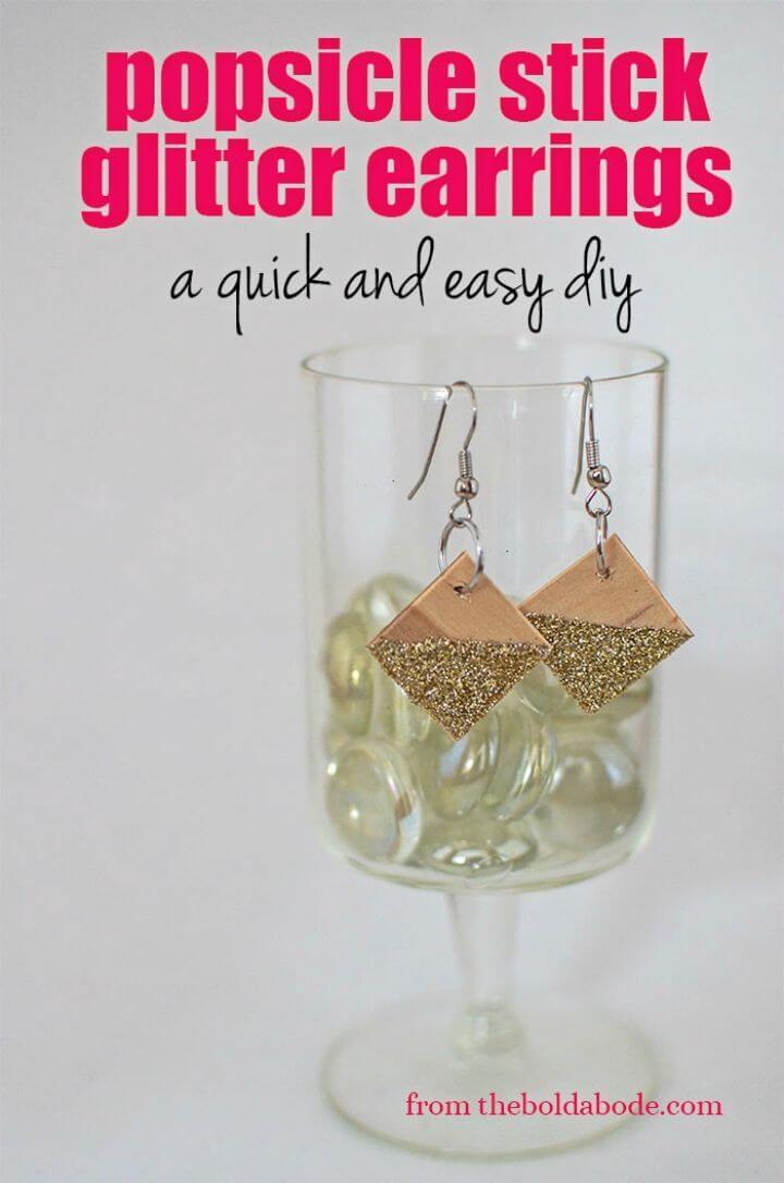 Pretty DIY Popsicle Stick Glitter Earrings