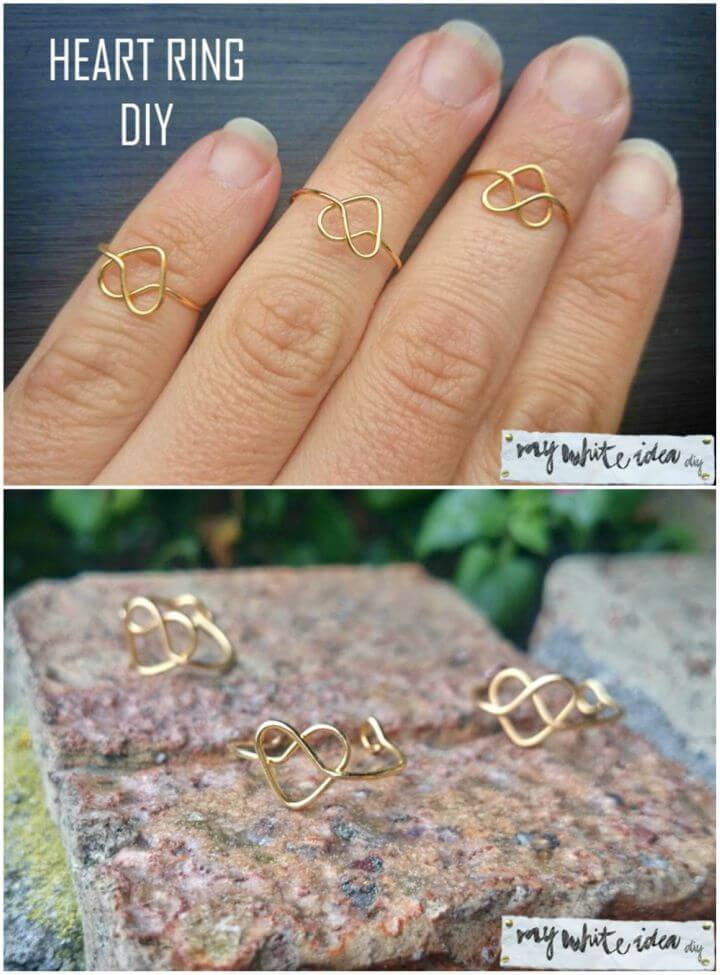 Pretty DIY Wire Heart Ring