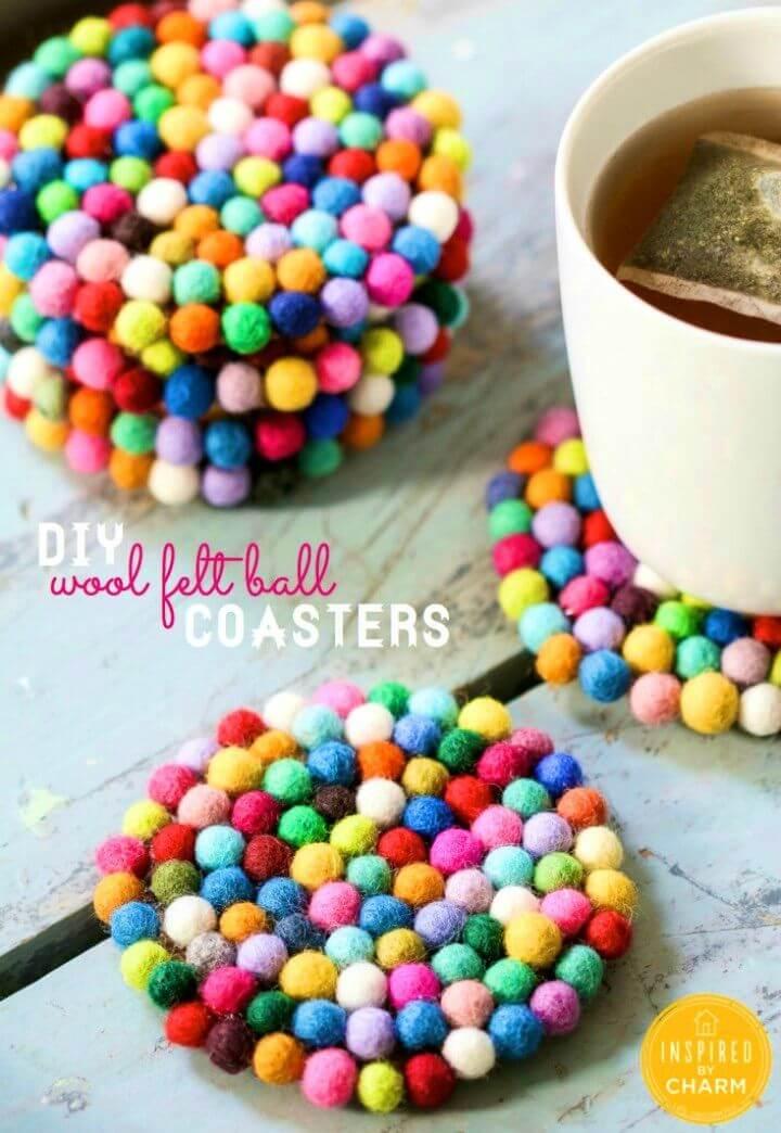 Pretty DIY Wool Felt Ball Coasters