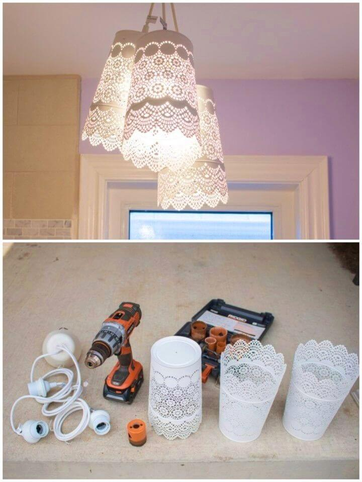 Pretty and Delicate DIY Pendent Chandelier