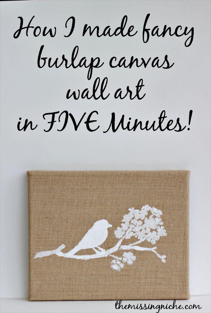 Quick DIY Burlap Canvas Wall Art