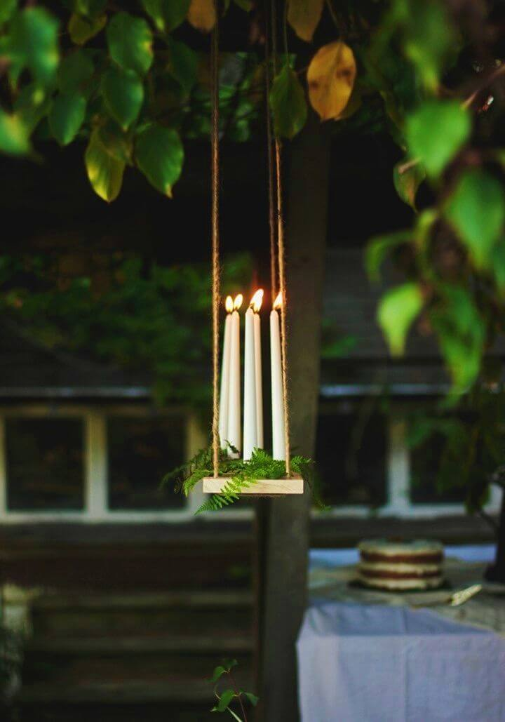 Quick DIY Hanging Candle Chandelier