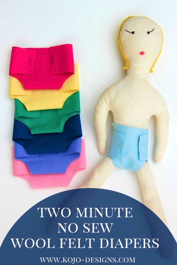 Quick DIY No sew Felt Diaper