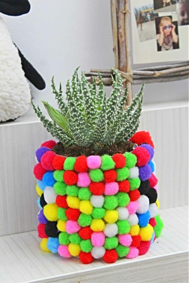 Quick DIY Pom Pom Planter