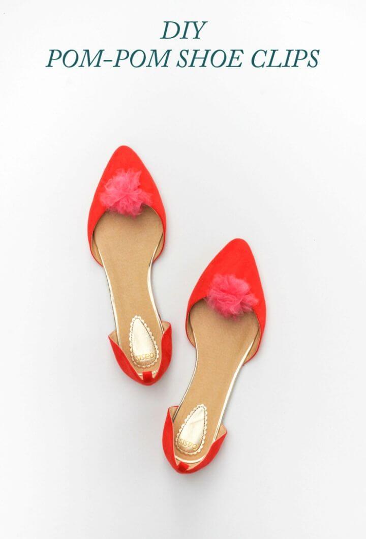 Quick DIY Pom pom Shoe Clips
