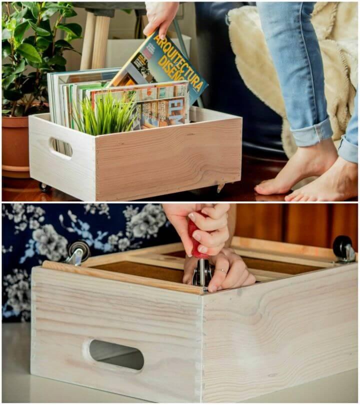 Quick DIY Rolling Magazine Storage
