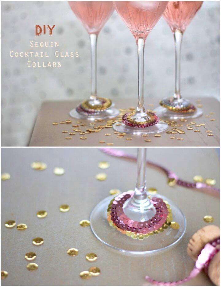 Quick DIY Sequin Cocktail Glass Collars