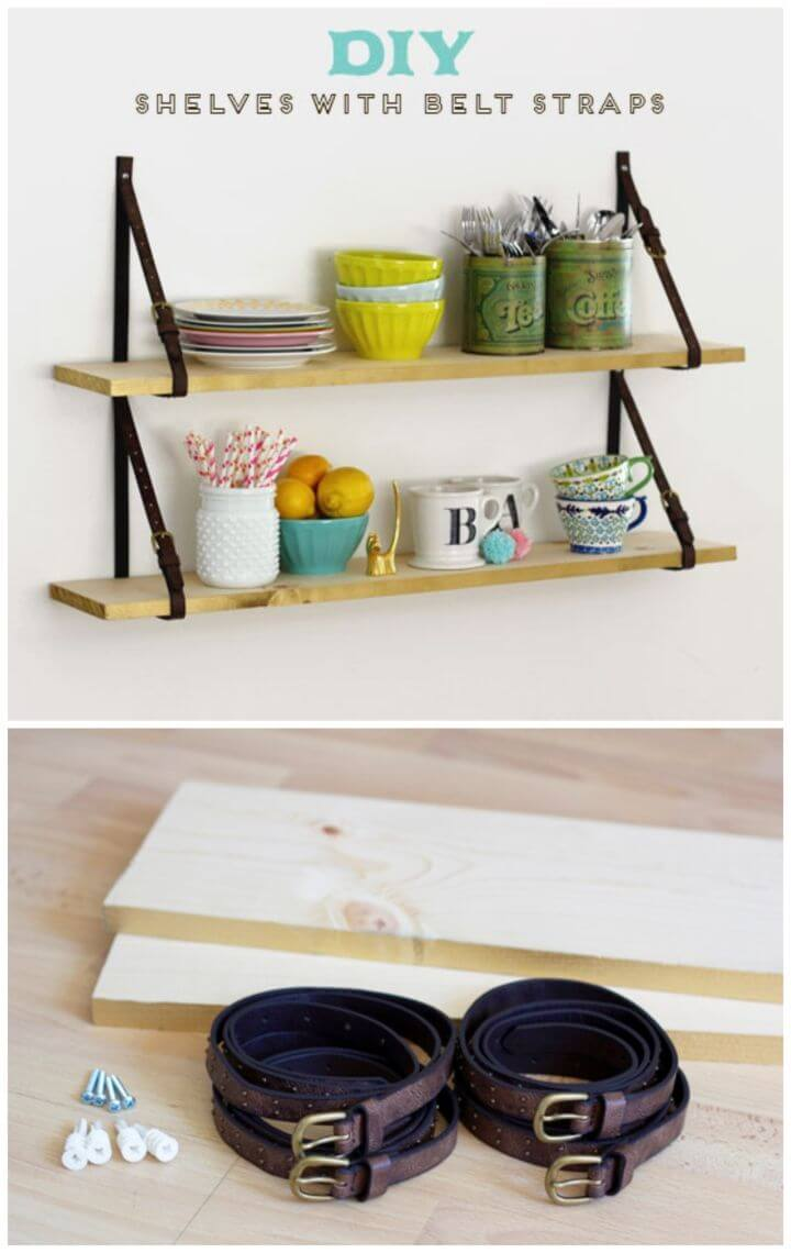 Quick DIY Shelves with Belt Straps