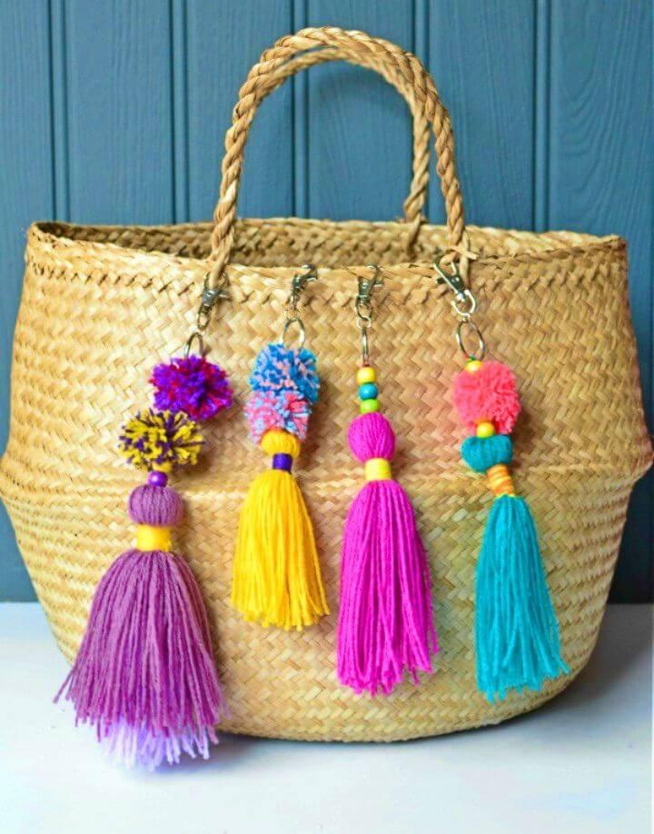 Quick DIY Tasseled Bag Charm with Quick Mini Pom Poms