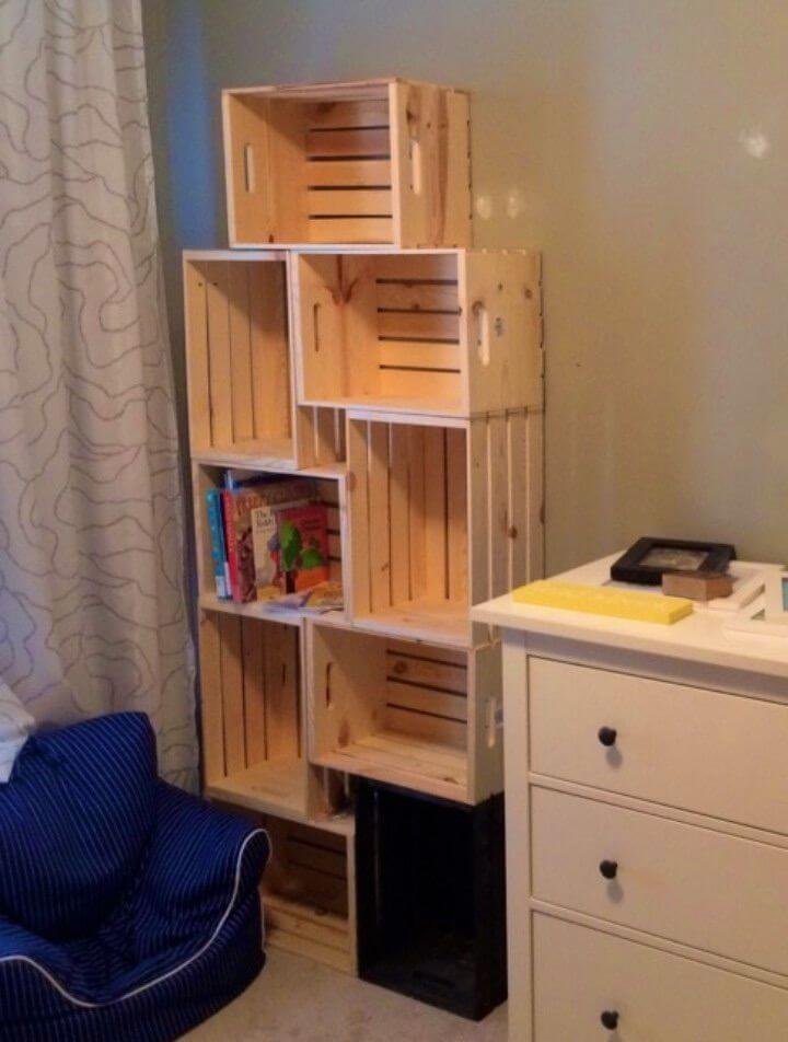Simple DIY Crate Bookshelf Tutorial