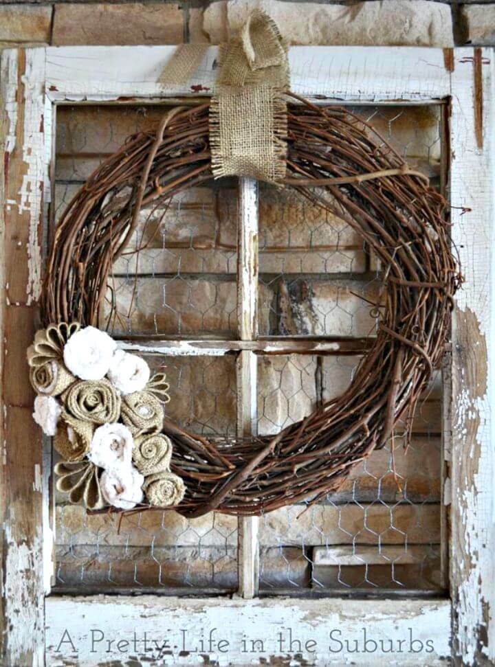Simple DIY Grapevine and Burlap Fall Wreath