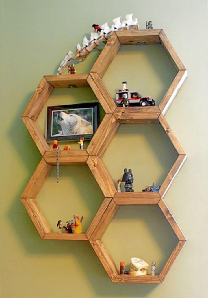 Simple DIY Honeycomb Hexagon Shelves