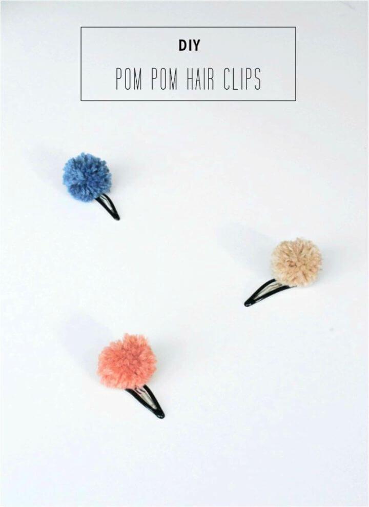 Simple DIY Pompom Hair Clips