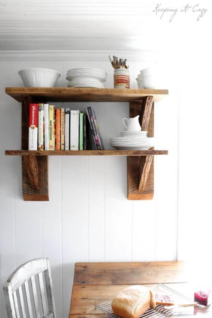 Simple DIY Reclaimed Wood Kitchen Shelves
