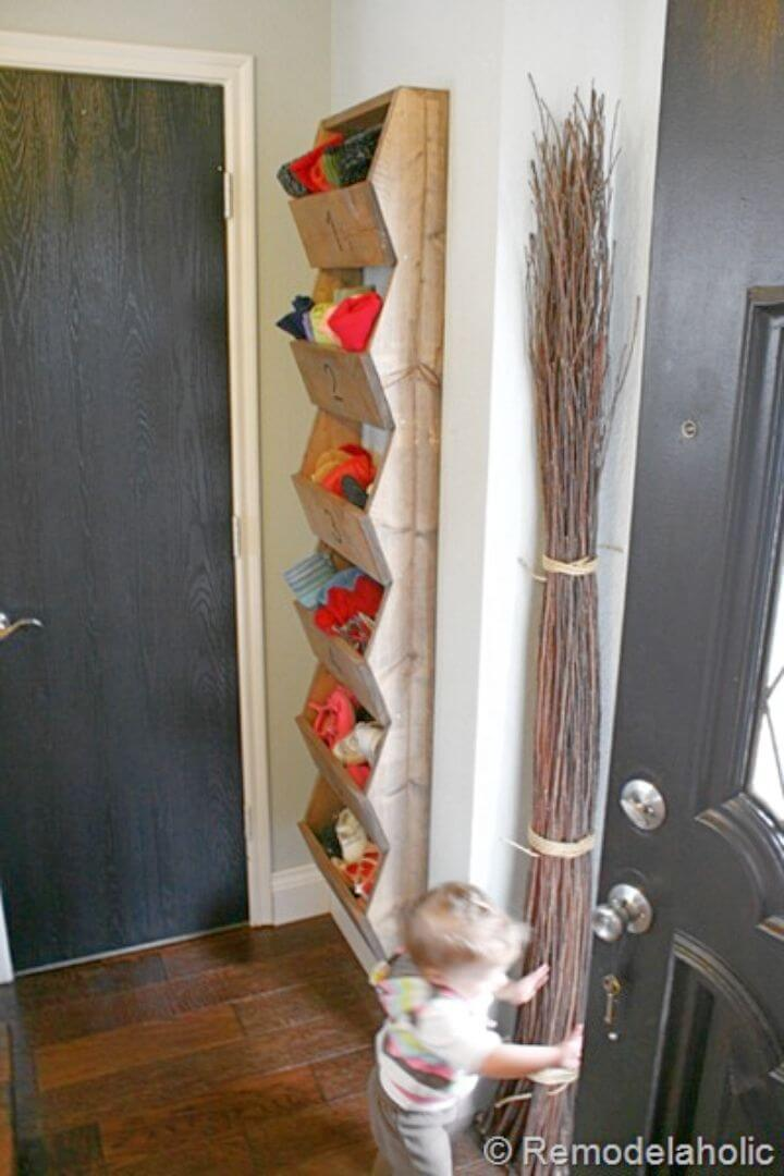 Simple DIY Rustic Wall Storage Bins