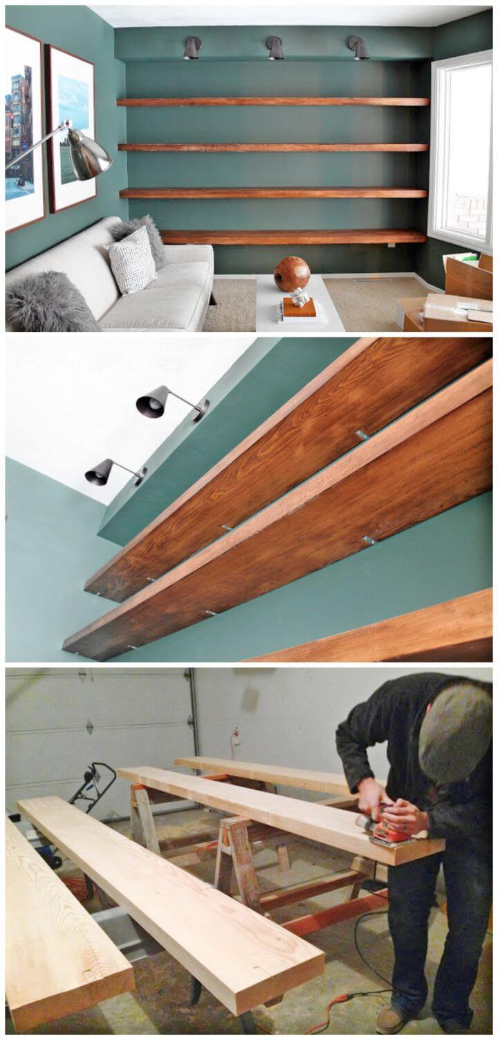 Simple to Make Solid Wood Wall to wall Shelves