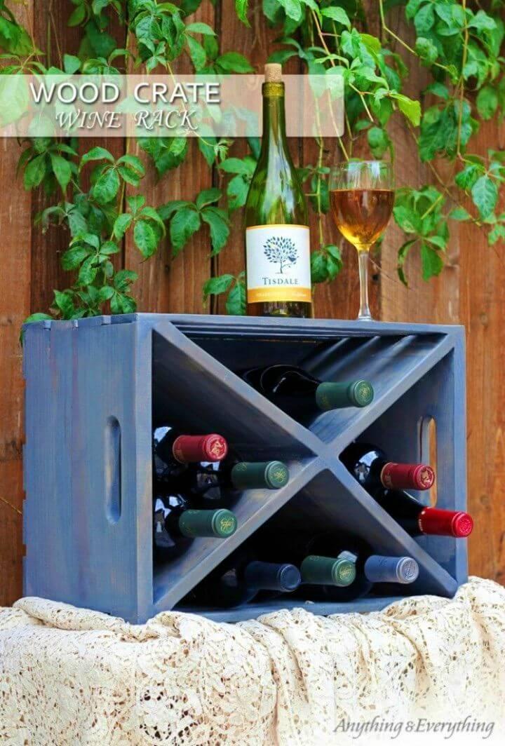 Super Easy DIY Wood Crate Wine Rack