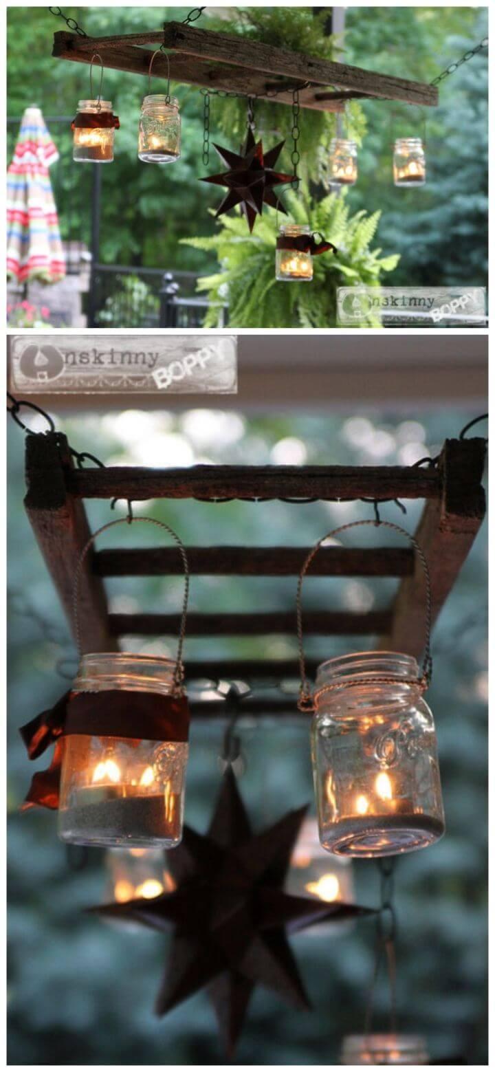 Turn Ladder Lantern into Porch Chandelier