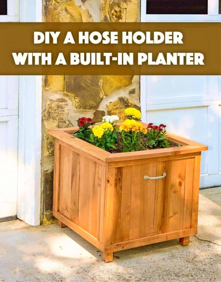 Turn Old Pallet into Hose Holder With Planter