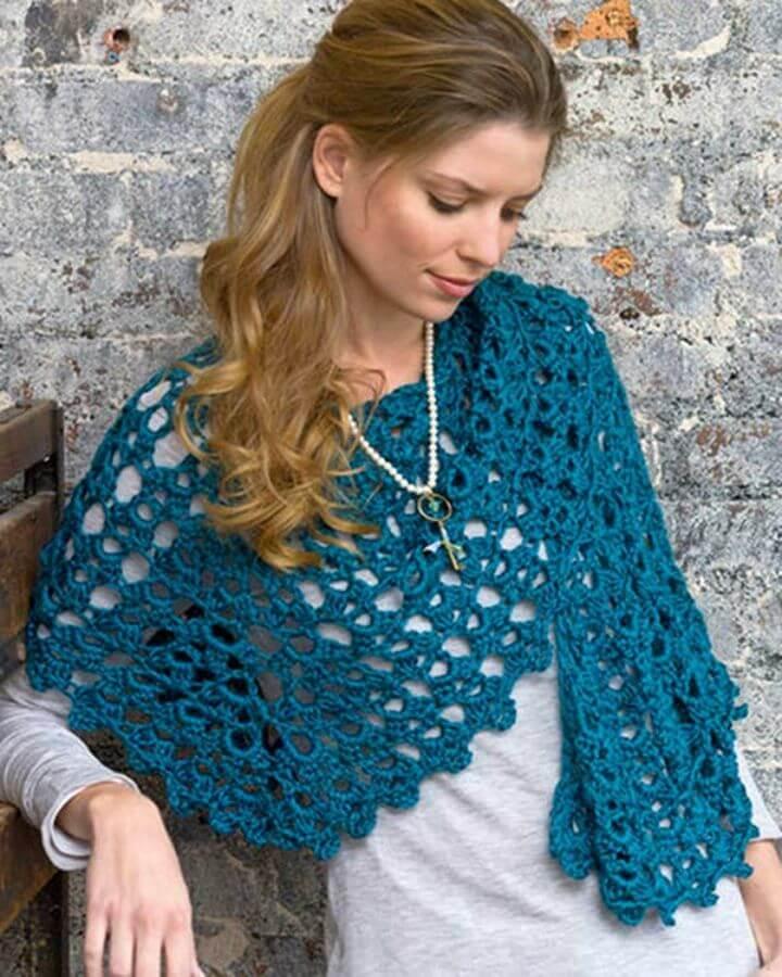 Adorable Crochet Graceful Shell Shawl Free Pattern