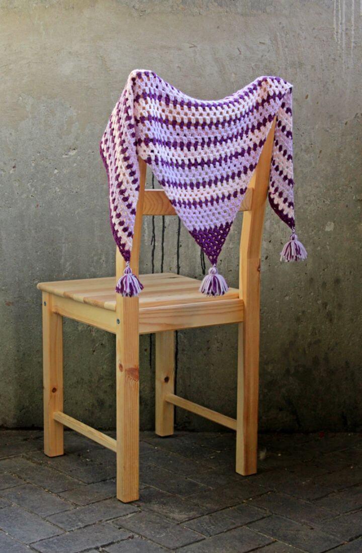 Awesome Crochet Granny Tassel Shawl Free Pattern