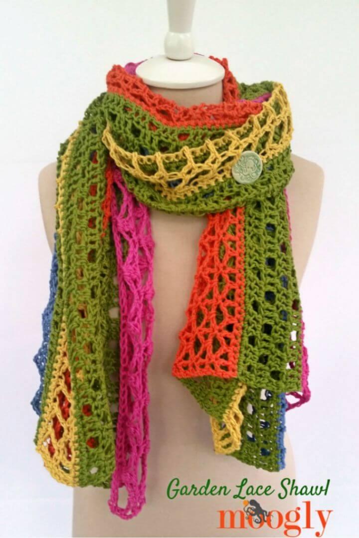 Beautiful Crochet Garden Lace Shawl Free Pattern