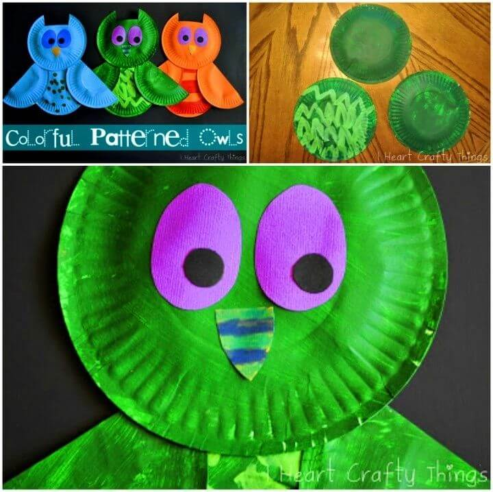 Colorful DIY Paper Plate Owl Crafts