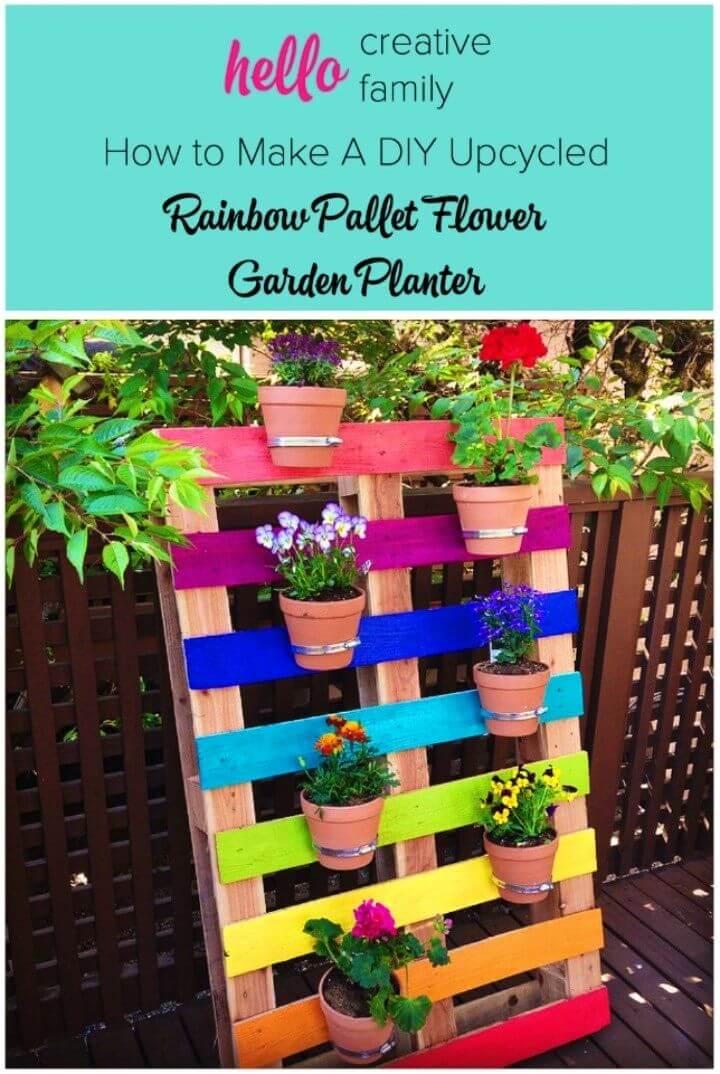 Create Rainbow Pallet Flower Garden Planter