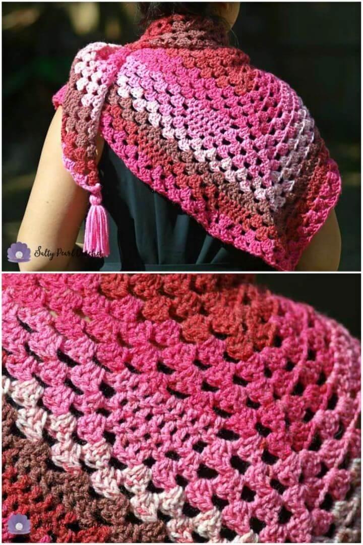 Crochet Heart Granny Triangle Shawl Free Pattern