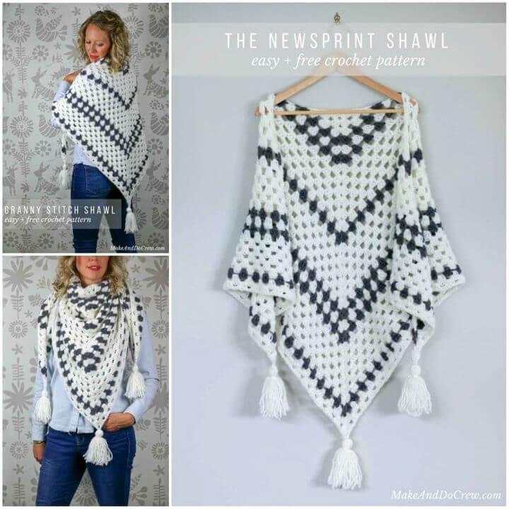 Crochet Newsprint Granny Stitch Shawl Free Pattern
