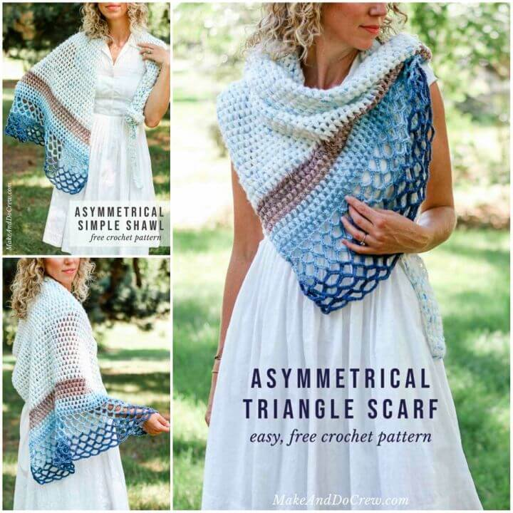 Crochet Rising Tide Asymmetrical Triangle Shawl Free Pattern