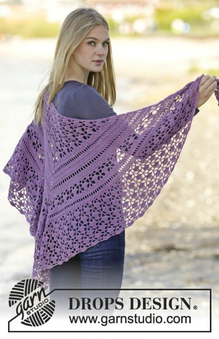 Crochet Shawl with Dc and Lace Free Pattern