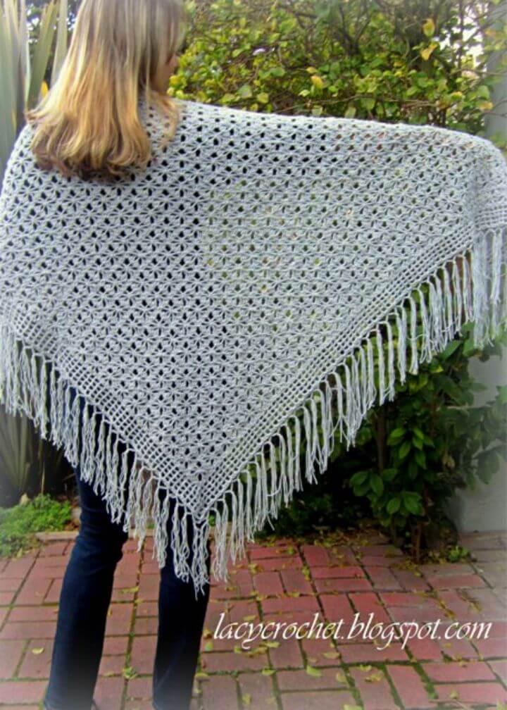 Crochet Spider Stitch Shawl Free Pattern