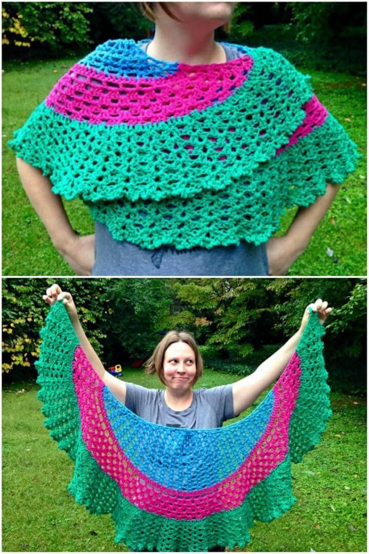 Crochet Vintage Circular Shawl Free Pattern