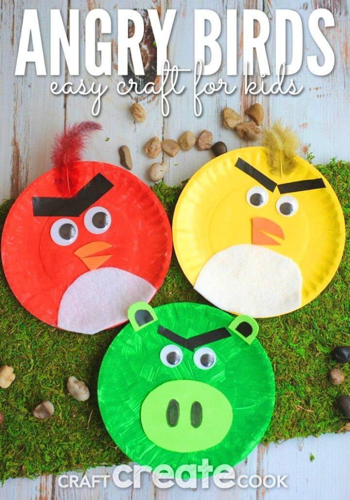 DIY Angry Birds Paper Plate Kids Craft