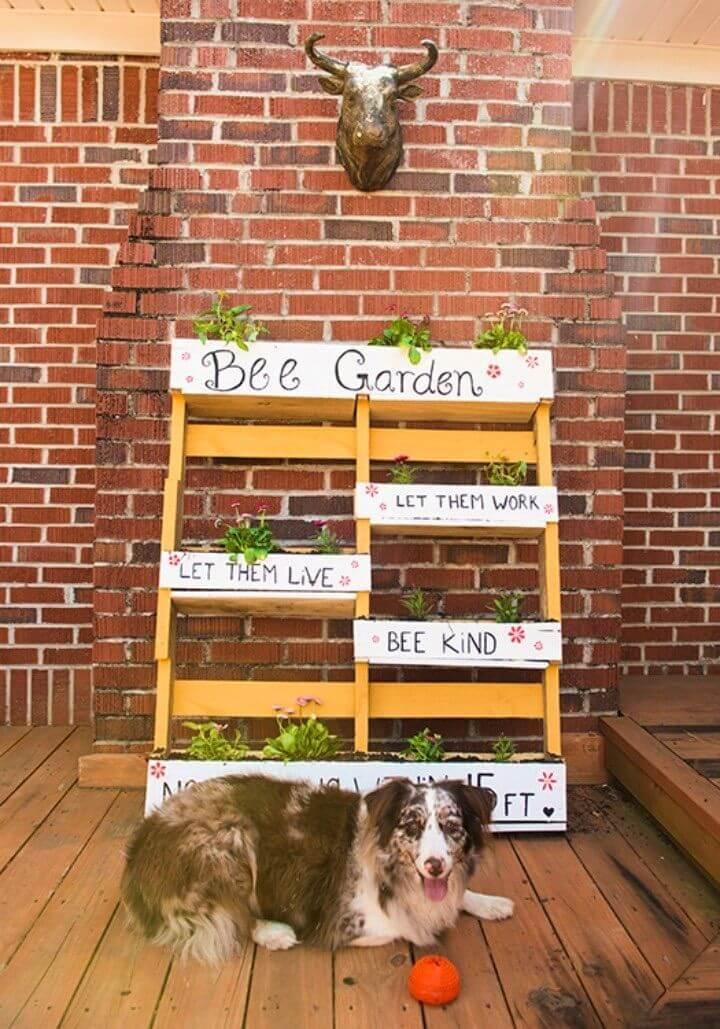 DIY Bee Garden from a Wood Pallet