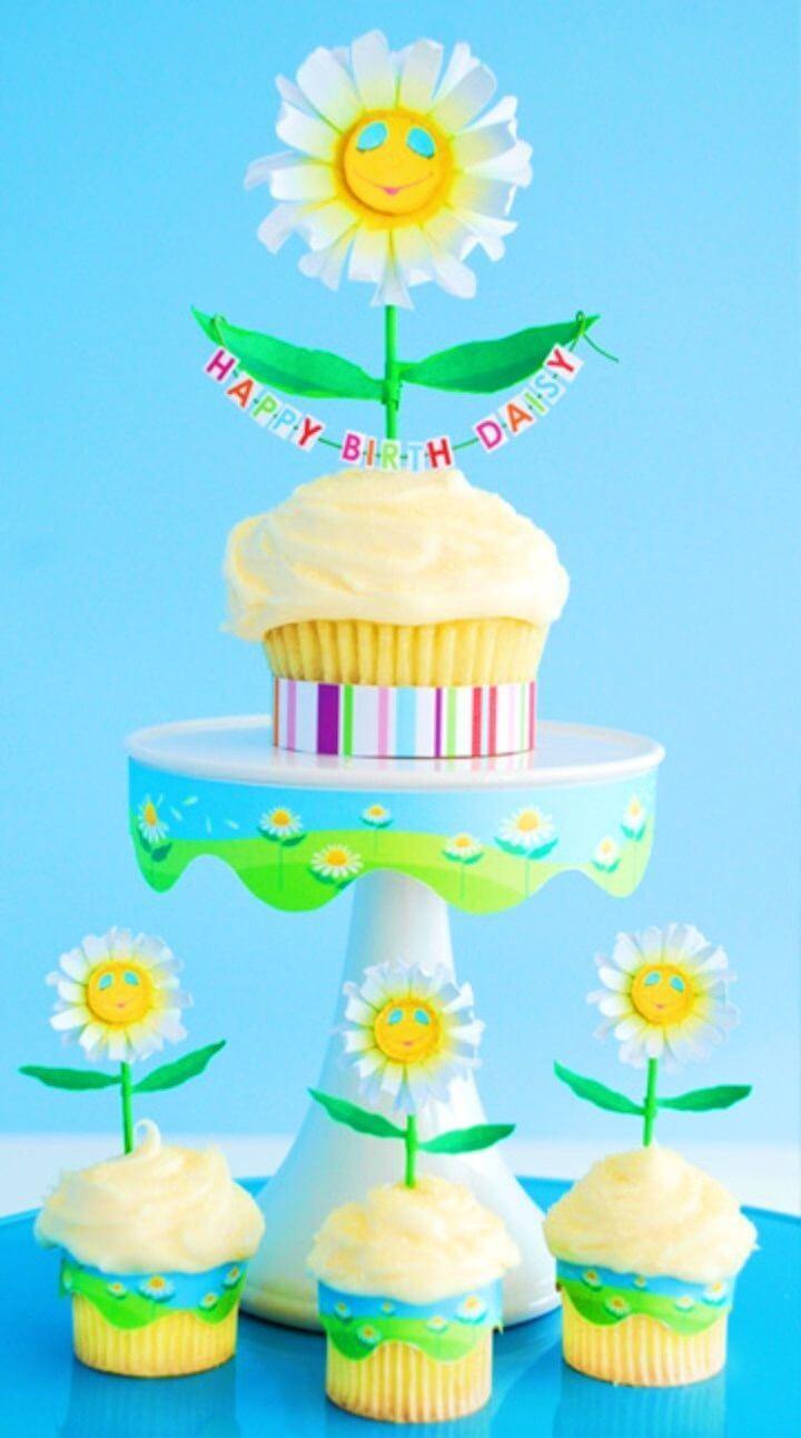 DIY Birth daisy Cupcake Craft
