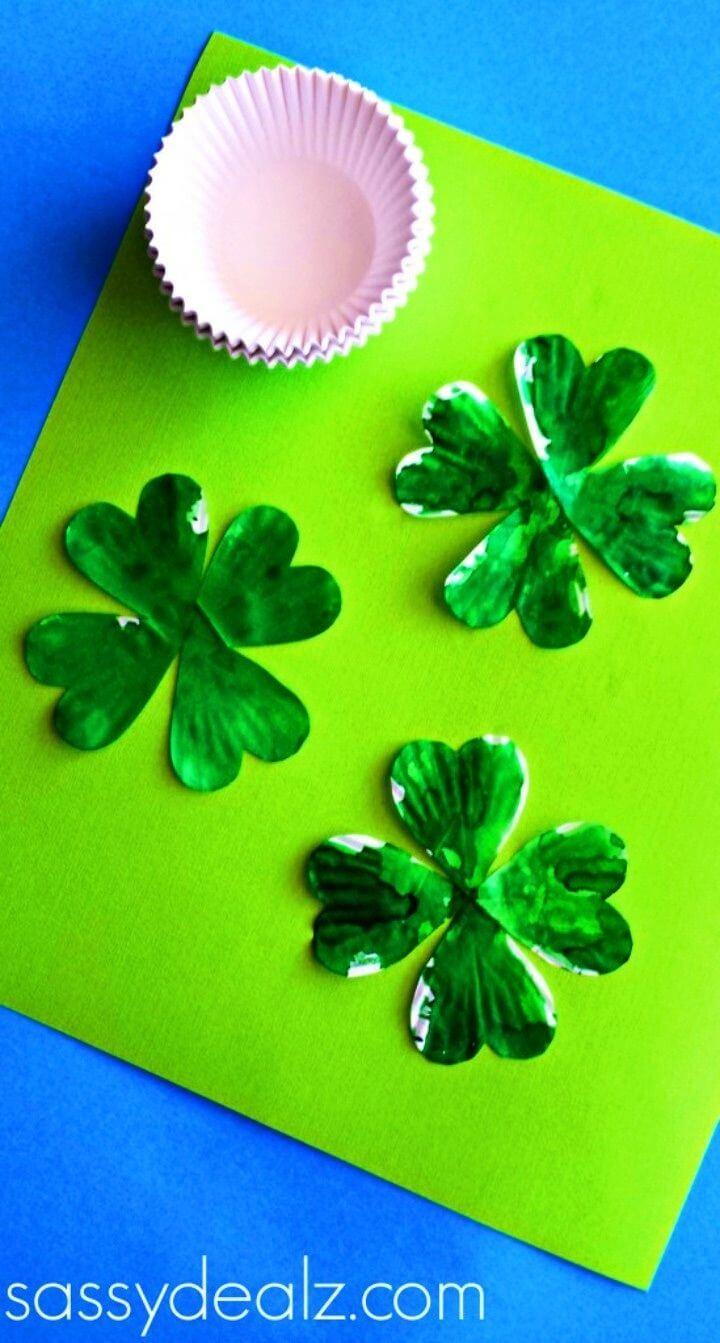 DIY Cupcake Liner Leaf Clover Craft