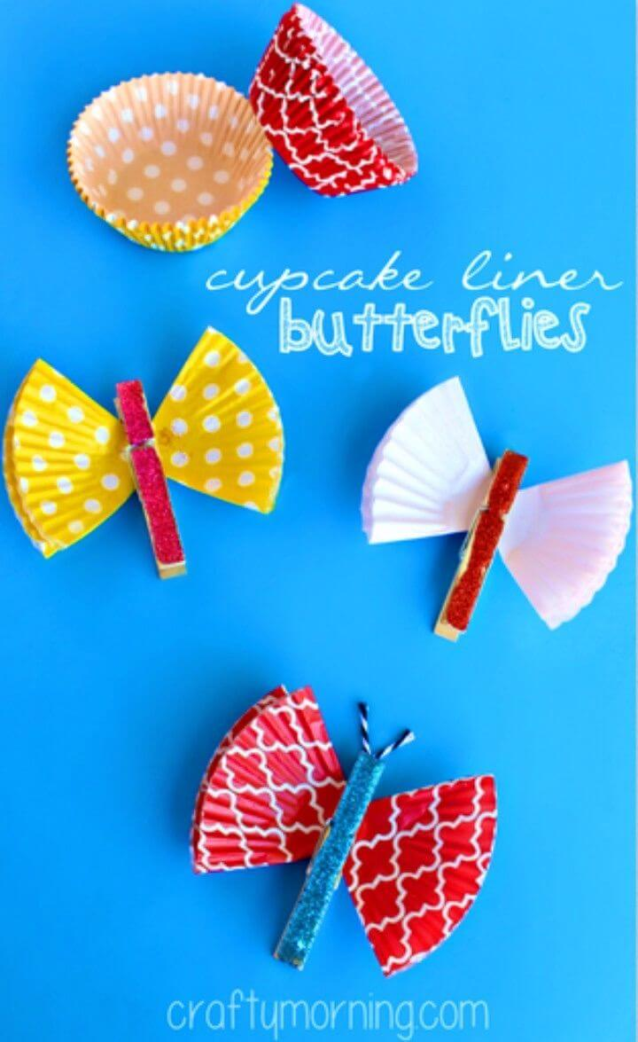 DIY Cupcake Liner Butterfly Clothespins Craft