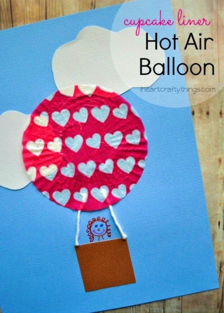 DIY Cupcake Liner Hot Air Balloon Kids Craft
