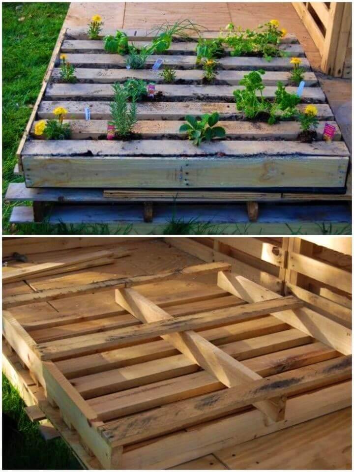 DIY Herb Garden in a Salvage Wood Pallet