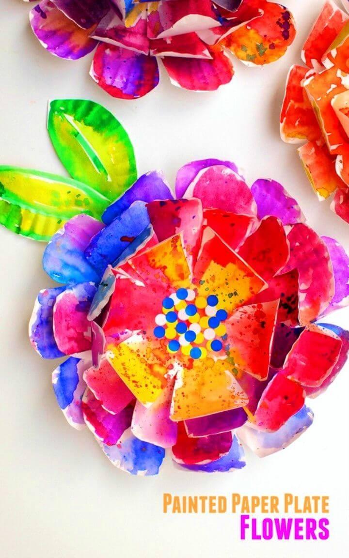 DIY Hyper Painted Paper Plate Flowers
