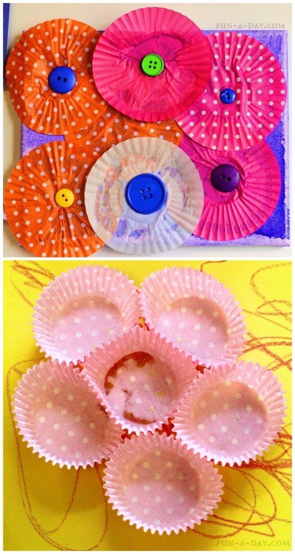 DIY Kid made Cupcake Liner Flowers
