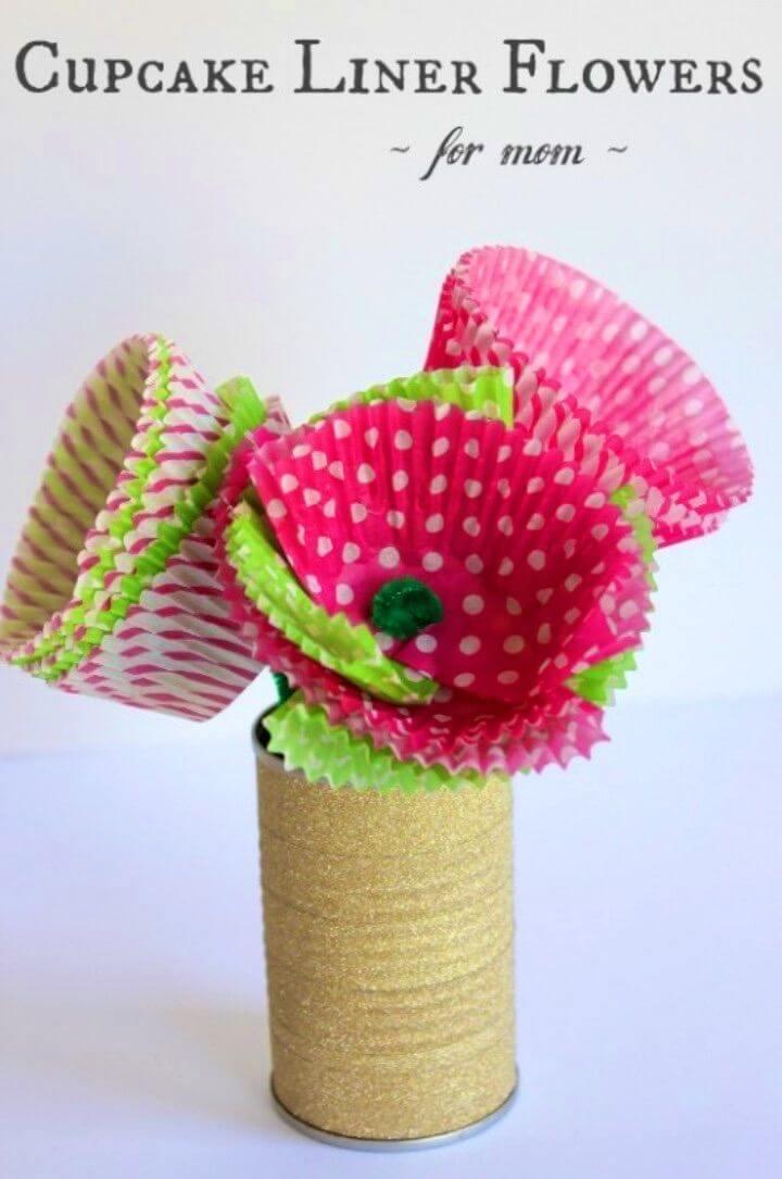 DIY Moms Love Cupcake Liner Flowers
