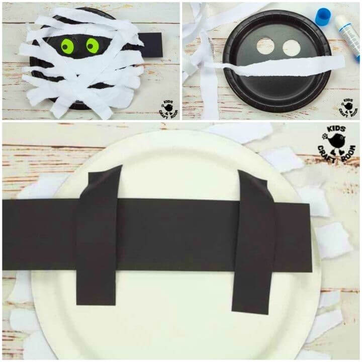 DIY Moving Eyes Paper Plate Mummy Craft